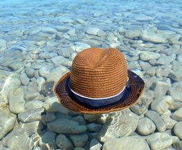brown and black fedora hat on gray stone